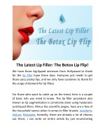 The Latest Lip Filler: The Botox Lip Flip