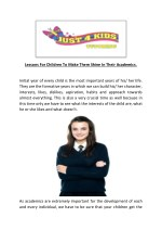 Lessons For Children To Make Them Shine In Their Academics - Just 4 Kids Tutoring