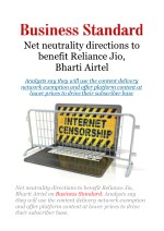 Net neutrality directions to benefit Reliance Jio, Bharti Airtel