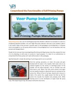 Functionality of Self Priming Pumps