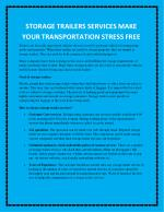 STORAGE TRAILERS SERVICES MAKE YOUR TRANSPORTATION STRESS FREE