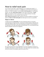How to relief neck pain