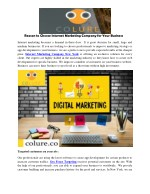 Reason to Choose Internet Marketing Company for Your Business