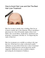 How To Avoid Hair Loss and Get The best Hair Loss Treatment