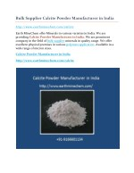 Bulk supplier calcite powder manufacturer in india