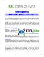 ESL JOBS LOUNGE Helps To Find A Job To Teach English Overseas