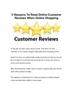 The Main Reasons Online Customer Reviews Are Important