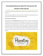 Get Answers to your Queries at Parenting Workshop