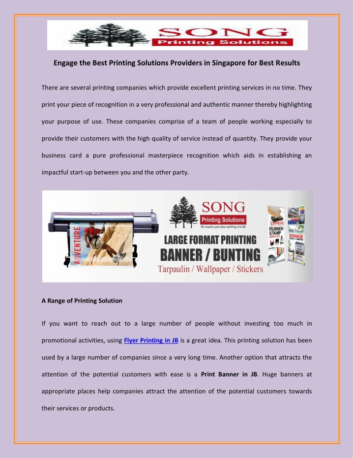 engage the best printing solutions providers n.