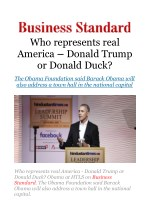 Who represents real America - Donald Trump or Donald Duck? Obama at HTLS
