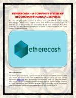 Etherecash – A Complete System of Blockchain Financial Services