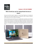 When should you opt for Laptop Rental in Dubai?