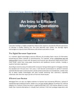 Efficient Mortgage Operations 101: Essentials for Lenders