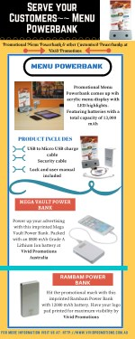 Infographic of Menu Power Bank | Vivid Promotions