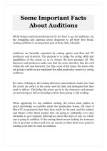Some Important Facts About Auditions