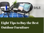 Eight tips to Buy the Best Outdoor Furniture