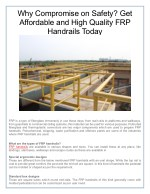 Why Compromise on Safety? Get Affordable and High Quality FRP Handrails Today