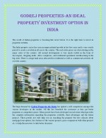 Godrej Properties-An Ideal Property Investment Option In India