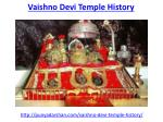 Find the best vaishno devi temple history