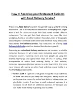 How to Speed up your Restaurant Business with Food Delivery Service?