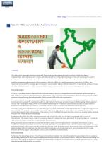Rules for NRI investment in Indian real estate market