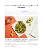 Sustain a Healthy Lifestyle with an Organic Vegan Diet from 22 Days Nutrition