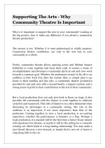 Supporting The Arts - Why Community Theatre Is Important