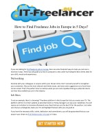 How to Find Freelance Jobs in Europe in 5 Days?