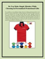Do You Make Simple Mistakes While Choosing In Personalized Promotional Gifts