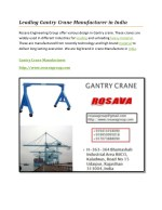 Leading Gantry Crane Manufacturer in India