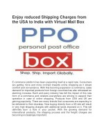 Enjoy reduced Shipping Charges from the USA to India with Virtual Mail Box