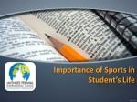 Importance of Sports in Student's Life - Jayshree Periwal International School