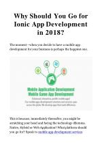 Why Should You Go for Ionic App Development in 2018?