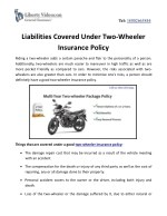 Liabilities Covered Under Two-Wheeler Insurance Policy