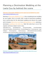 Planning a Destination Wedding at the Leela Goa by behind the scene