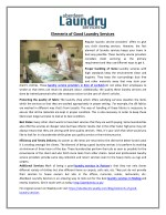 Elements of Good Laundry Services