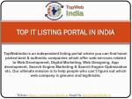 No. 1 Online Listing Portal of Top IT Companies in India
