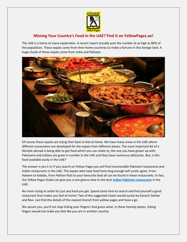 PPT - Missing Your Country's Food in the UAE? Find it on YellowPages