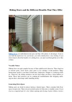 Sliding Doors and the Different Benefits That They Offer