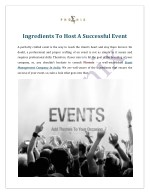 Ingredients To Host A Successful Event