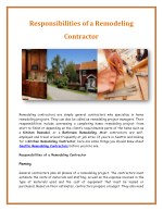 Responsibilities of a Remodeling Contractor
