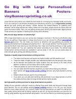 Go Big with Large Personalised Banners & Postersvinylbannersprinting.co.uk