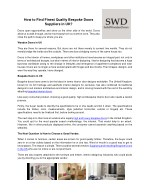 How to Find Finest Quality Bespoke Doors Suppliers in UK