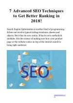 Advanced SEO On-Page Techniques 2018