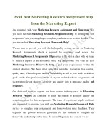 Avail Best Marketing Research Assignment help from the Marketing Expert