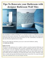 Tips To Renovate your Bathroom with designer Bathroom Wall Tiles
