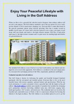 Enjoy Your Peaceful Lifestyle With Living In The Golf Address