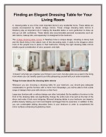 Finding an Elegant Dressing Table for Your Living Room