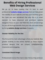 Benefits of Hiring Professional Web Design Services
