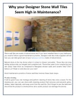 Why your Designer Stone Wall Tiles Seem High in Maintenance?